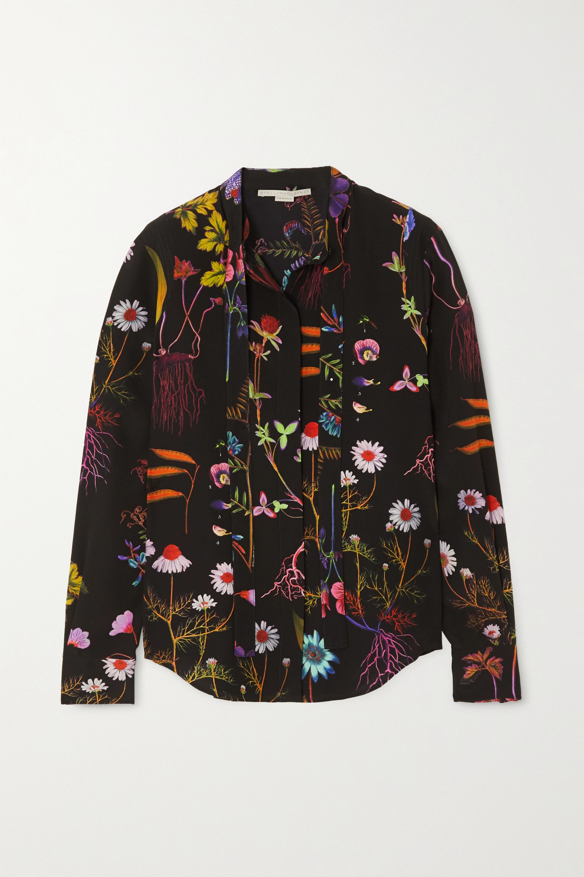 Stella McCartney Pussy-bow floral-print silk crepe de chine blouse