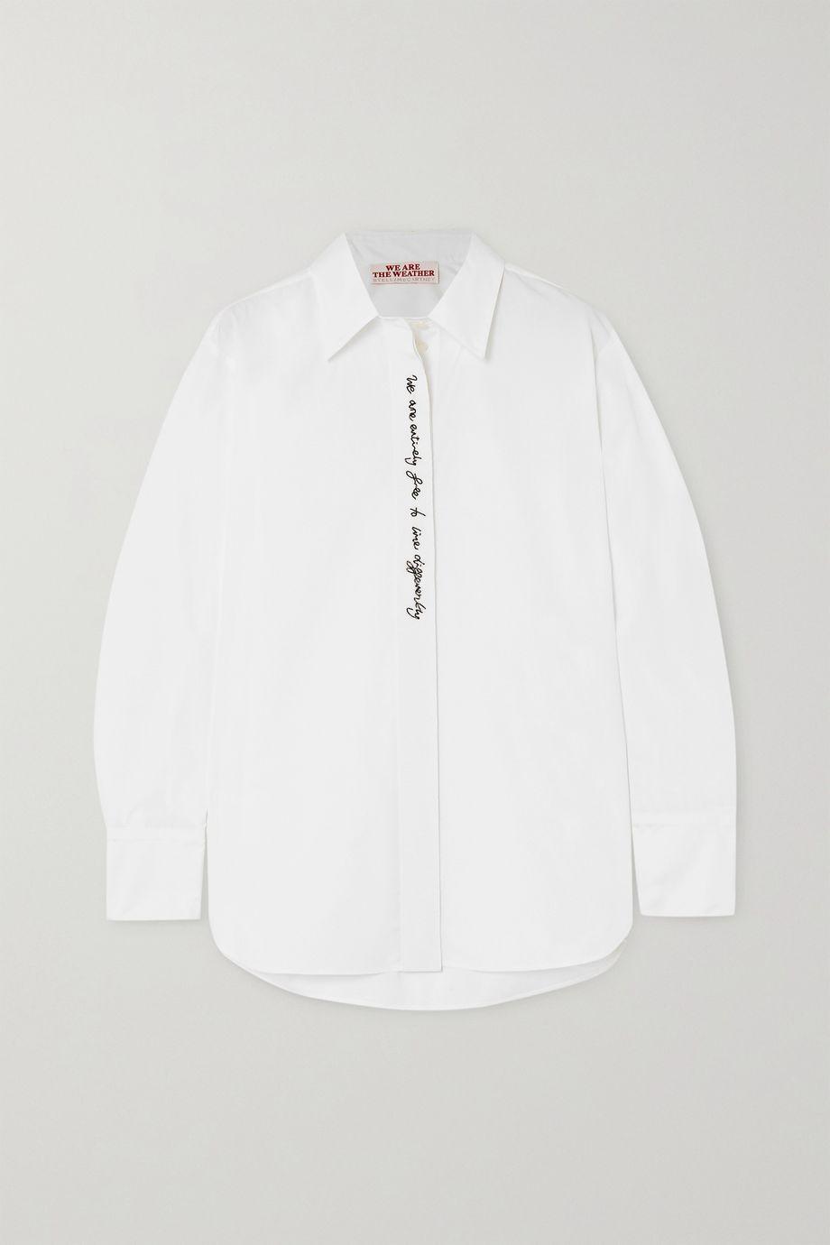 Stella McCartney + NET SUSTAIN bead-embellished organic cotton-poplin shirt