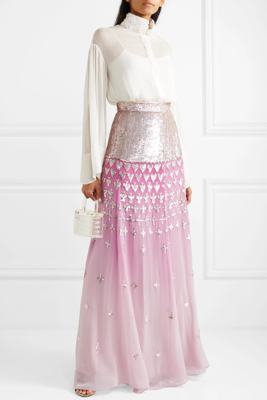 Temperley London Mirela dégradé sequin-embellished chiffon maxi skirt