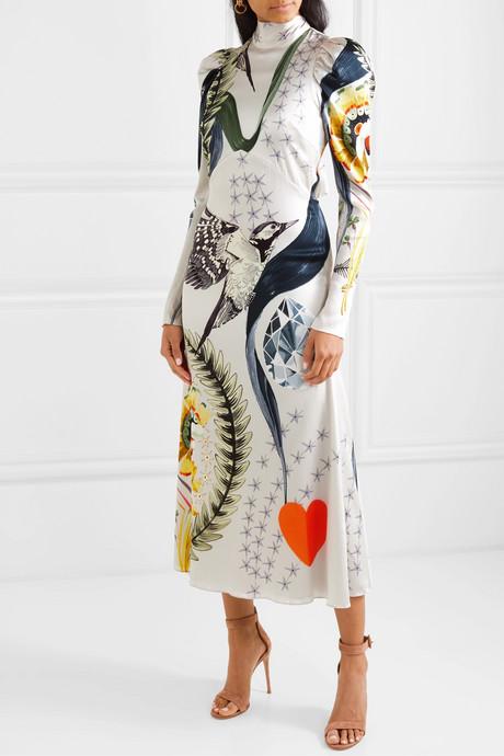Clementina printed hammered stretch-silk satin midi dress