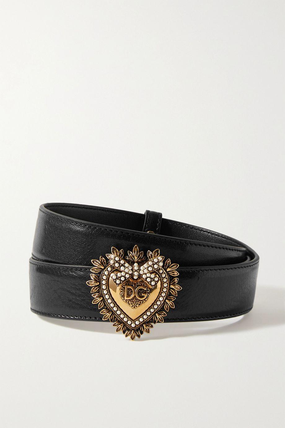 Dolce & Gabbana Devotion faux pearl-embellished glossed-leather belt