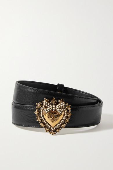 Dolce & Gabbana Devotion Faux Pearl-embellished Glossed-leather Belt In Black