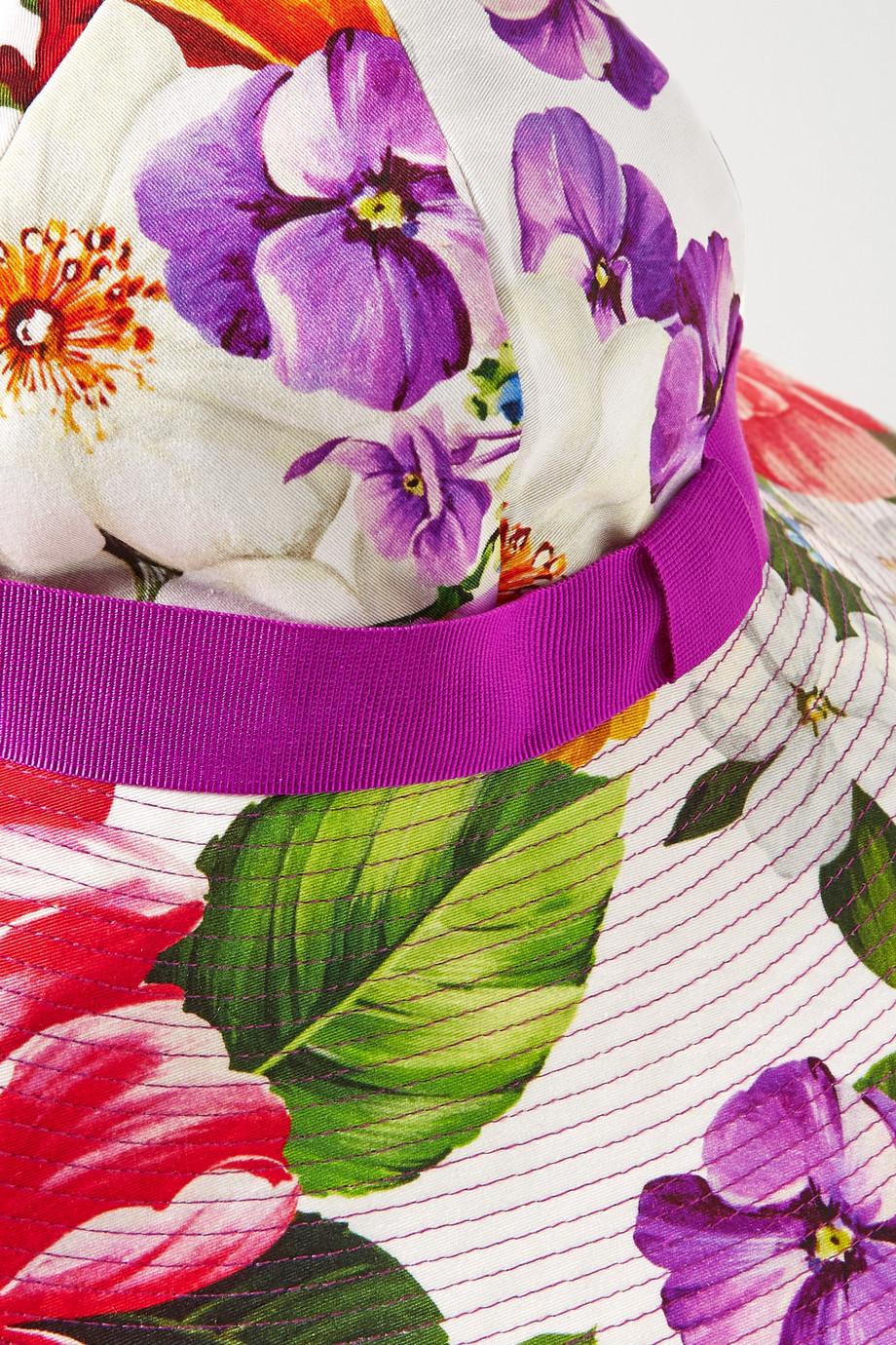 Dolce & Gabbana Grosgrain-trimmed floral-print cotton-blend twill hat