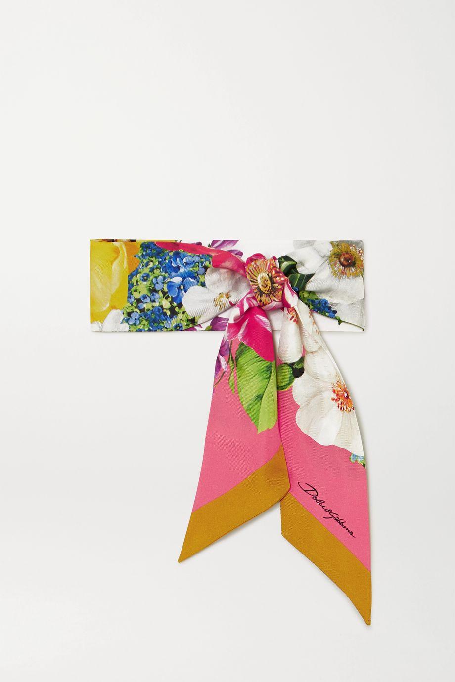 Dolce & Gabbana Floral-print silk-twill scarf
