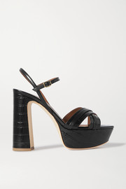 Mila 125 smooth and croc-effect leather platform sandals