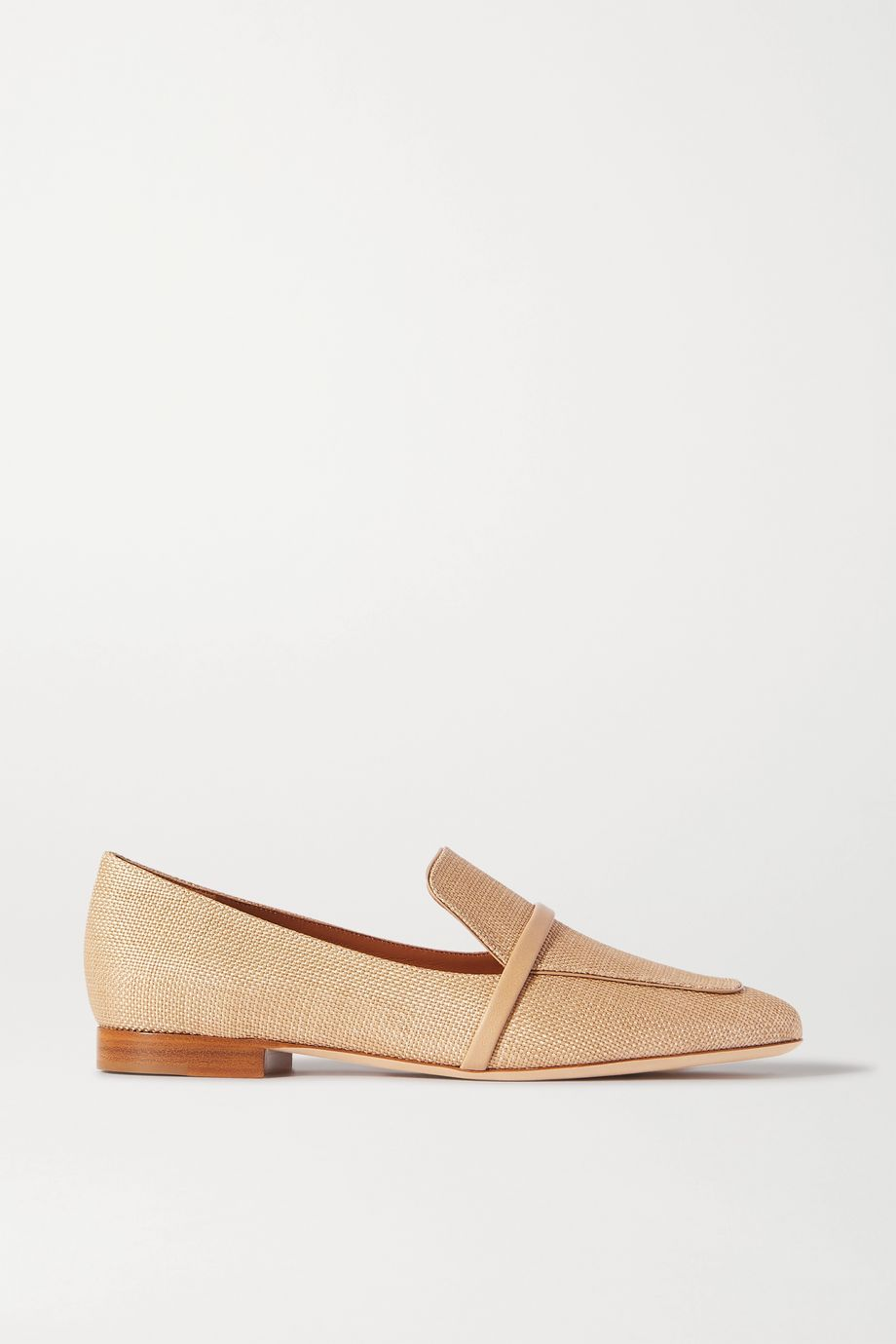Malone Souliers Jane leather-trimmed raffia loafers
