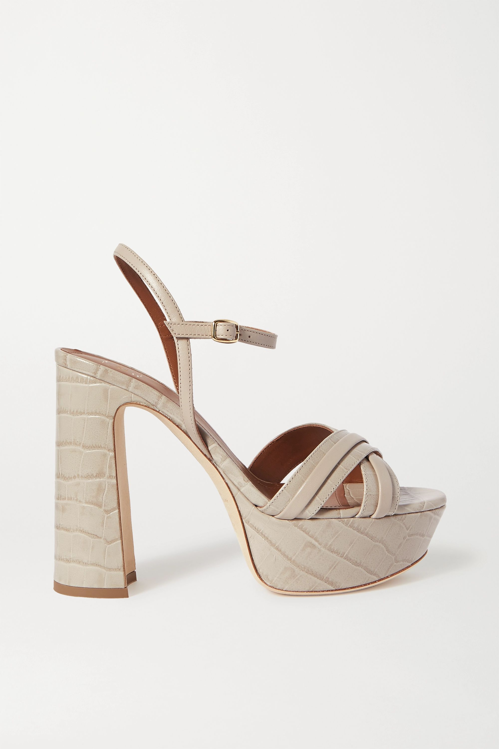 Gray Mila croc-effect leather platform