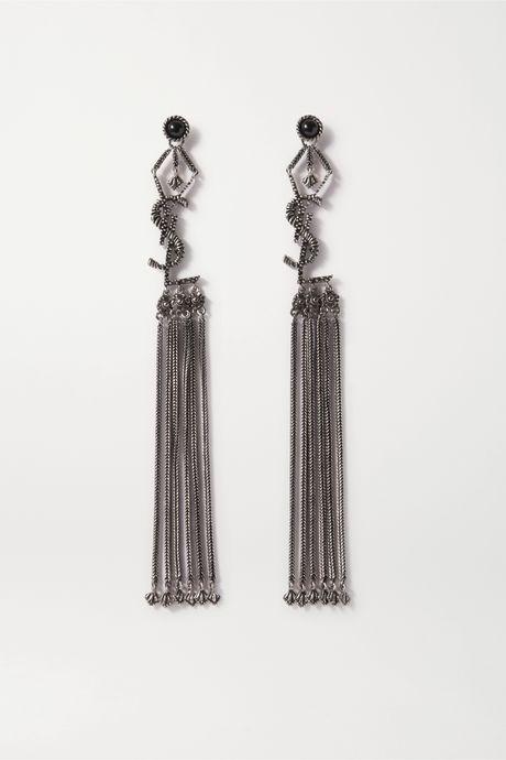 Black Tasseled blackened silver-tone earrings   SAINT LAURENT 5EAeFo