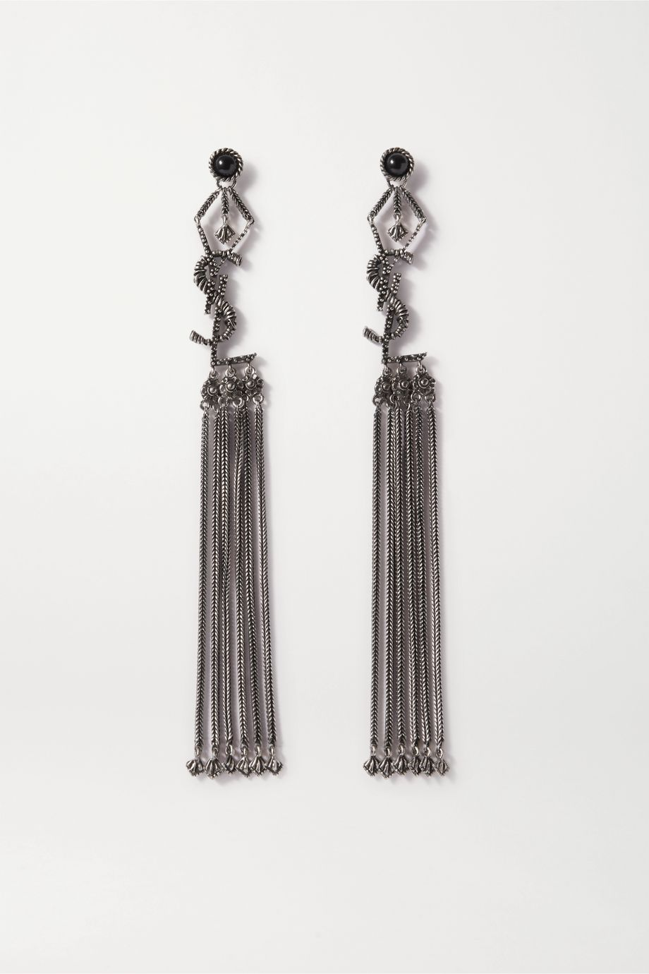 SAINT LAURENT Tasseled blackened silver-tone earrings
