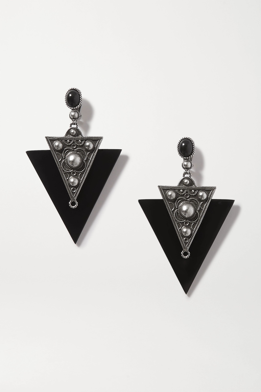 SAINT LAURENT Blackened silver-tone and enamel clip earrings