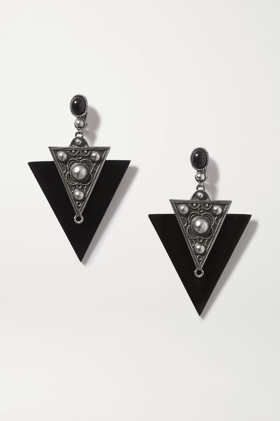 SAINT LAURENT Blackened silver-tone and enamel clip earrings