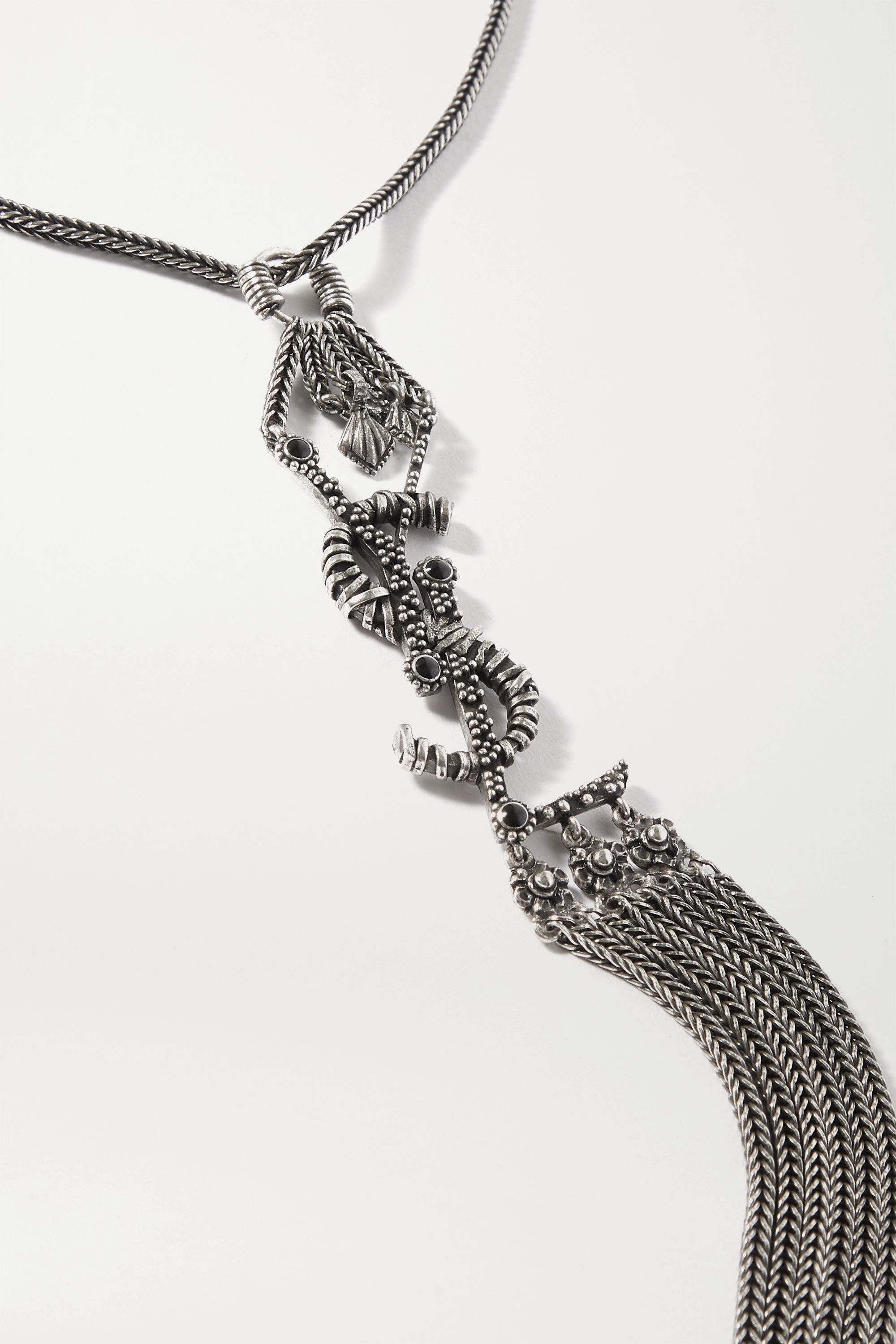 SAINT LAURENT Oxidized silver-tone and enamel necklace