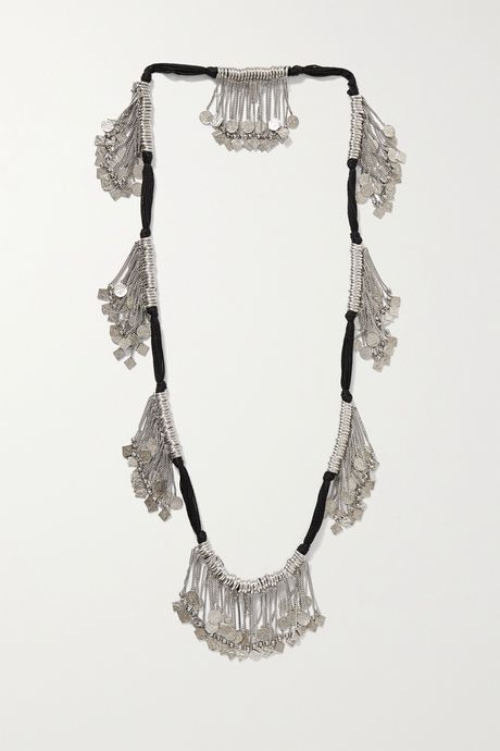 Silver Marrakech cord and silver-tone necklace | SAINT LAURENT QRmlNB
