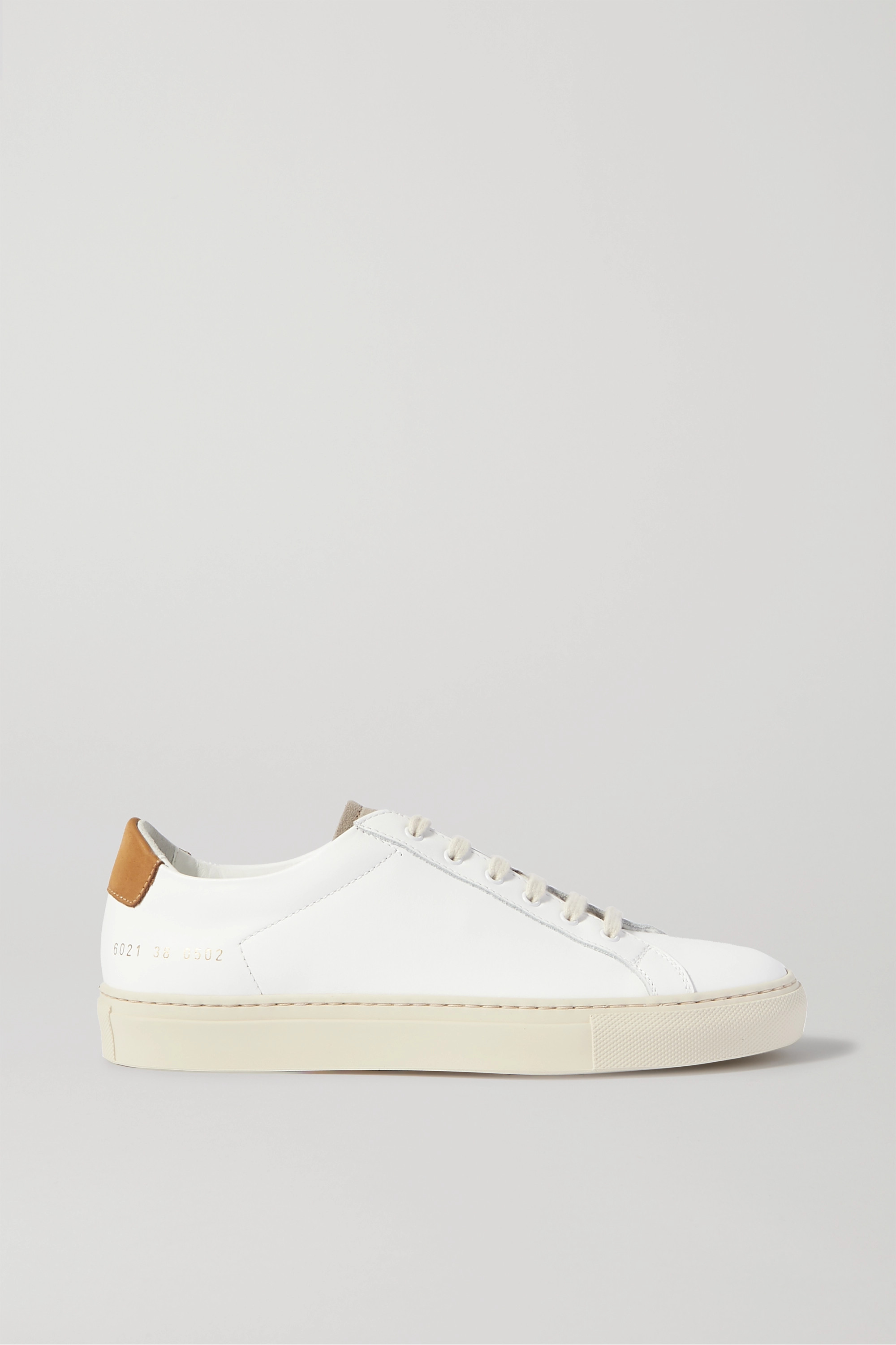 White Retro Low suede-trimmed leather