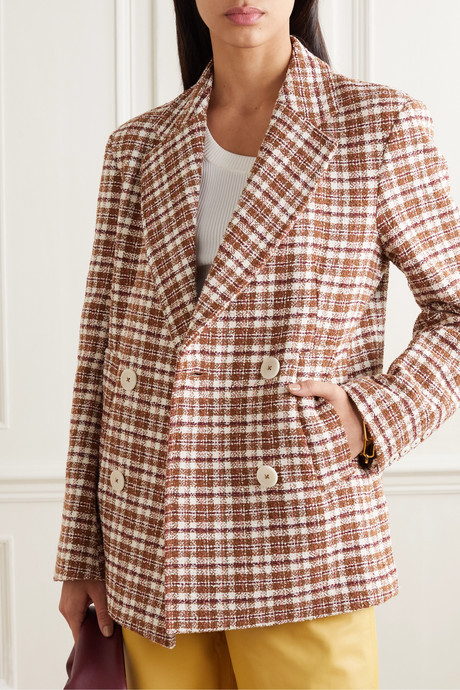Debbie double-breasted checked cotton-blend tweed blazer