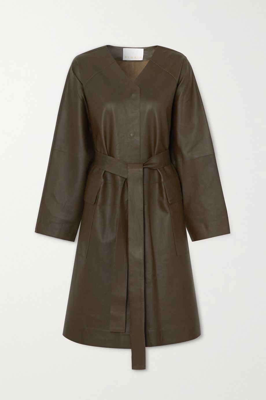 REMAIN Birger Christensen Savona belted leather coat