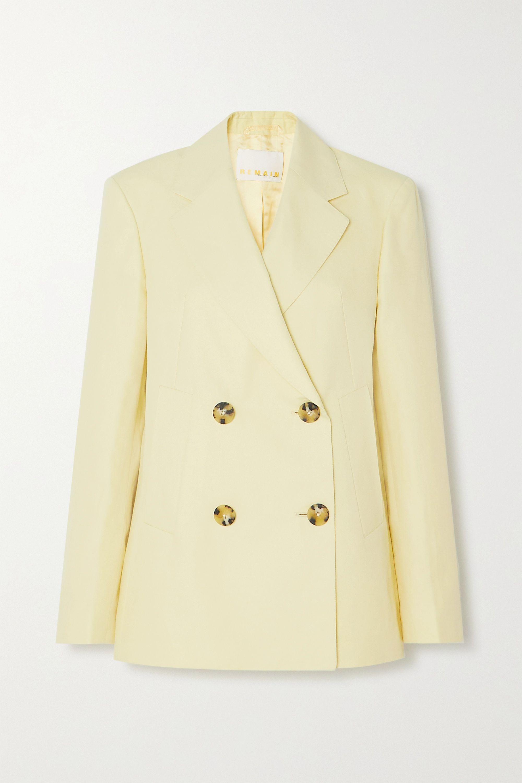 REMAIN Birger Christensen Debbie double-breasted cotton and linen-blend blazer