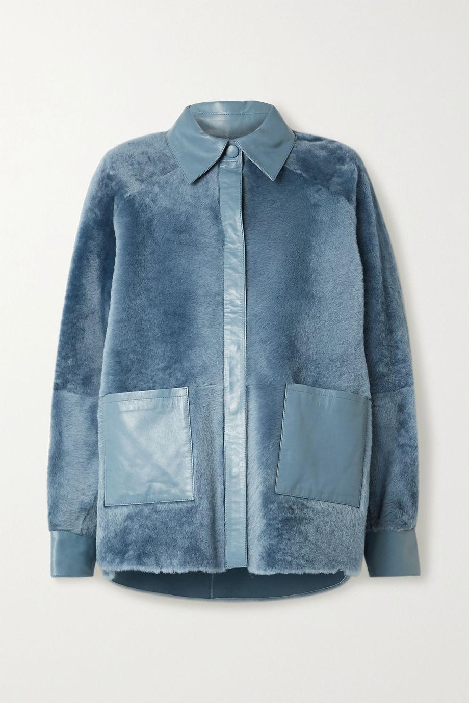 REMAIN Birger Christensen Beiru leather-trimmed shearling jacket