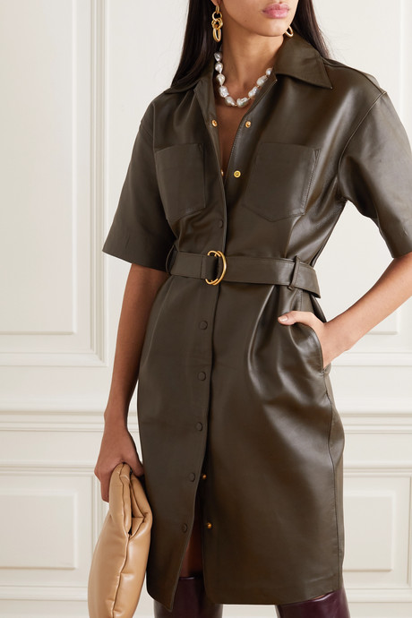 Puglia belted leather dress