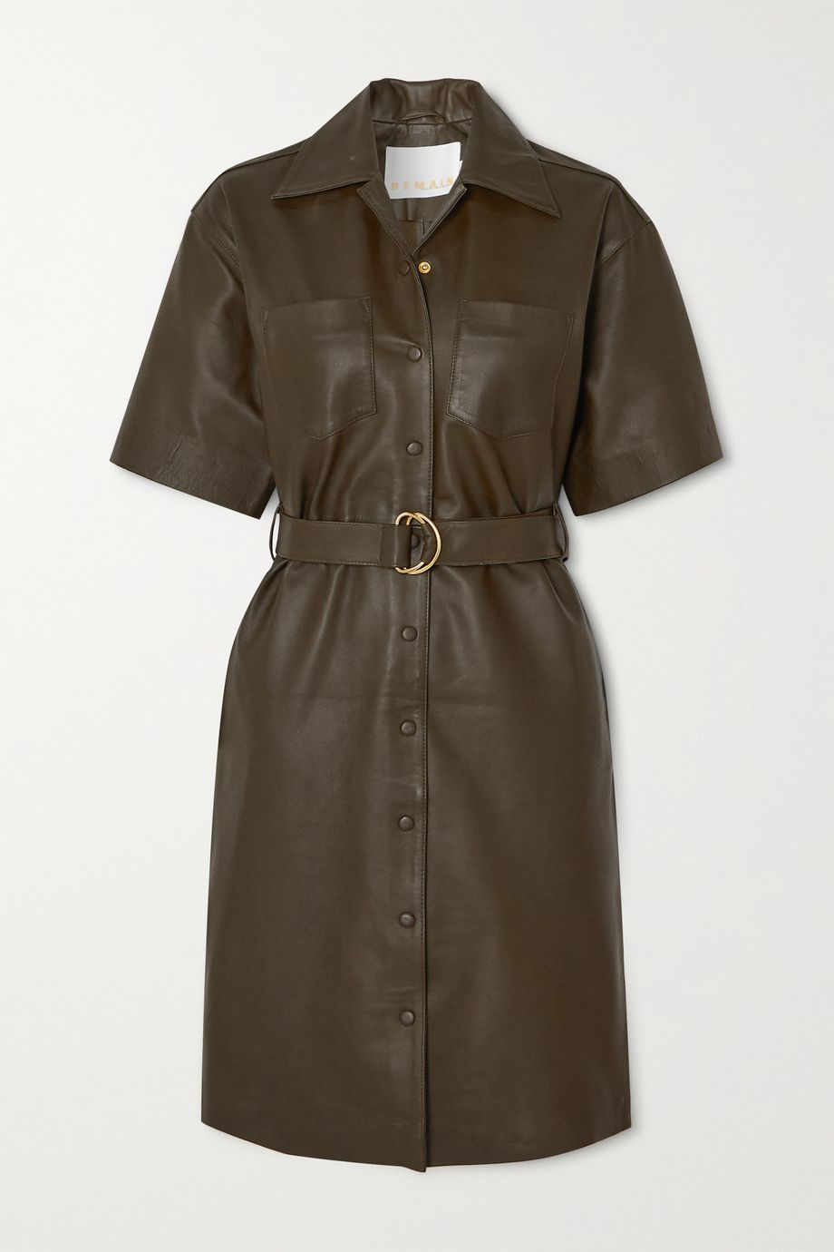 REMAIN Birger Christensen Puglia belted leather dress