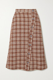 Marina leather-trimmed checked cotton-blend tweed midi skirt