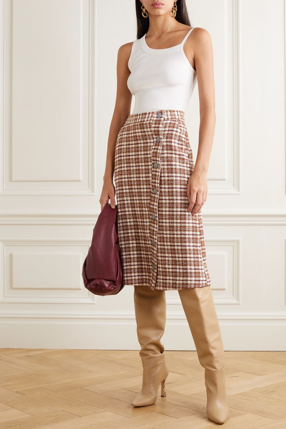 REMAIN Birger Christensen Marina leather-trimmed checked cotton-blend tweed midi skirt