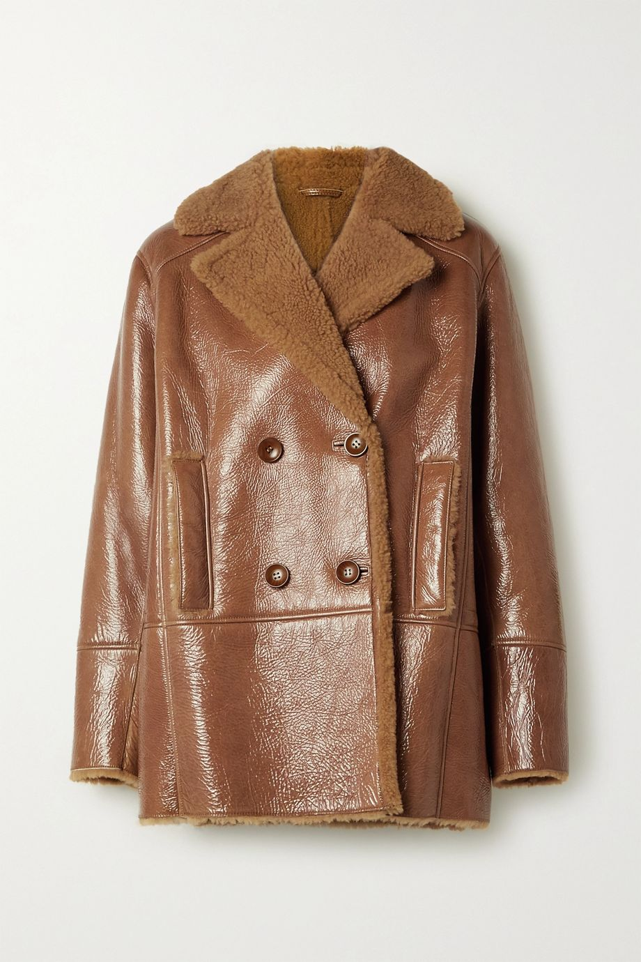 REMAIN Birger Christensen Ray double-breasted shearling-lined glossed textured-leather jacket