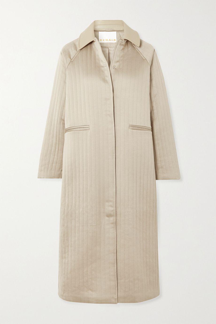 REMAIN Birger Christensen Kyoto leather-trimmed quilted hammered-satin coat