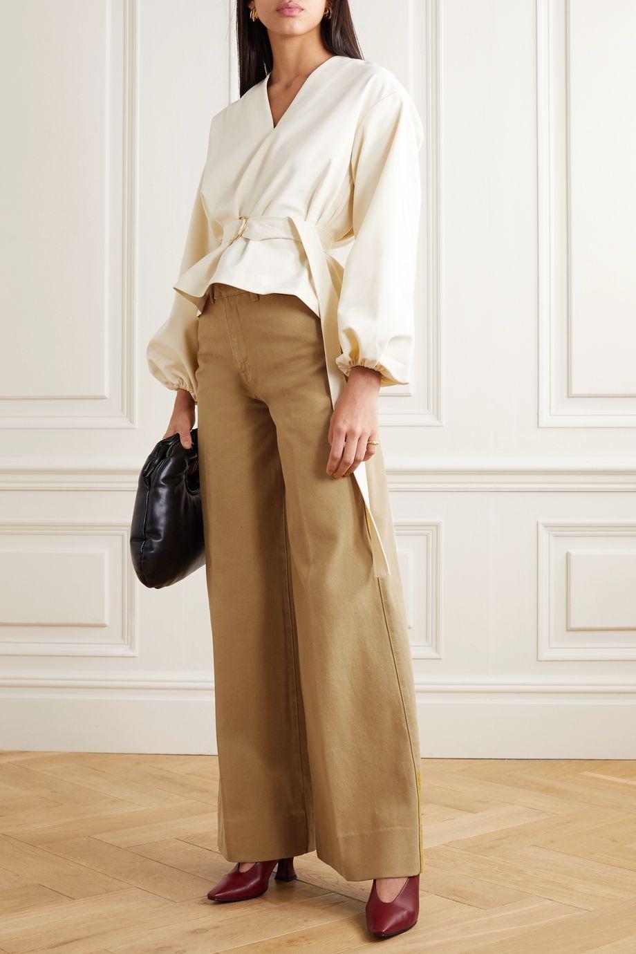REMAIN Birger Christensen Bernadette cotton-twill wide-leg pants