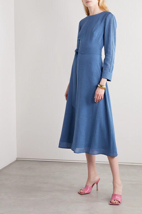 Zoe belted voile midi dress