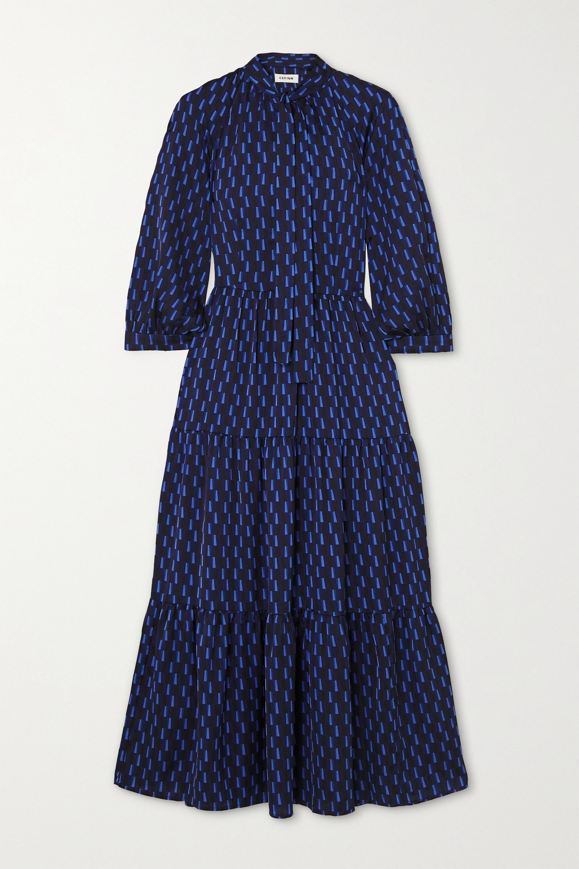 Cefinn Olivia pussy-bow tiered printed crepe de chine midi dress