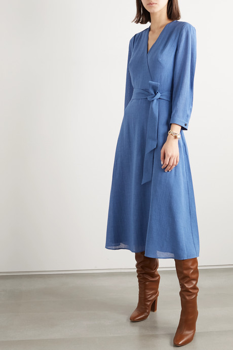 Lily wrap-effect belted voile midi dress