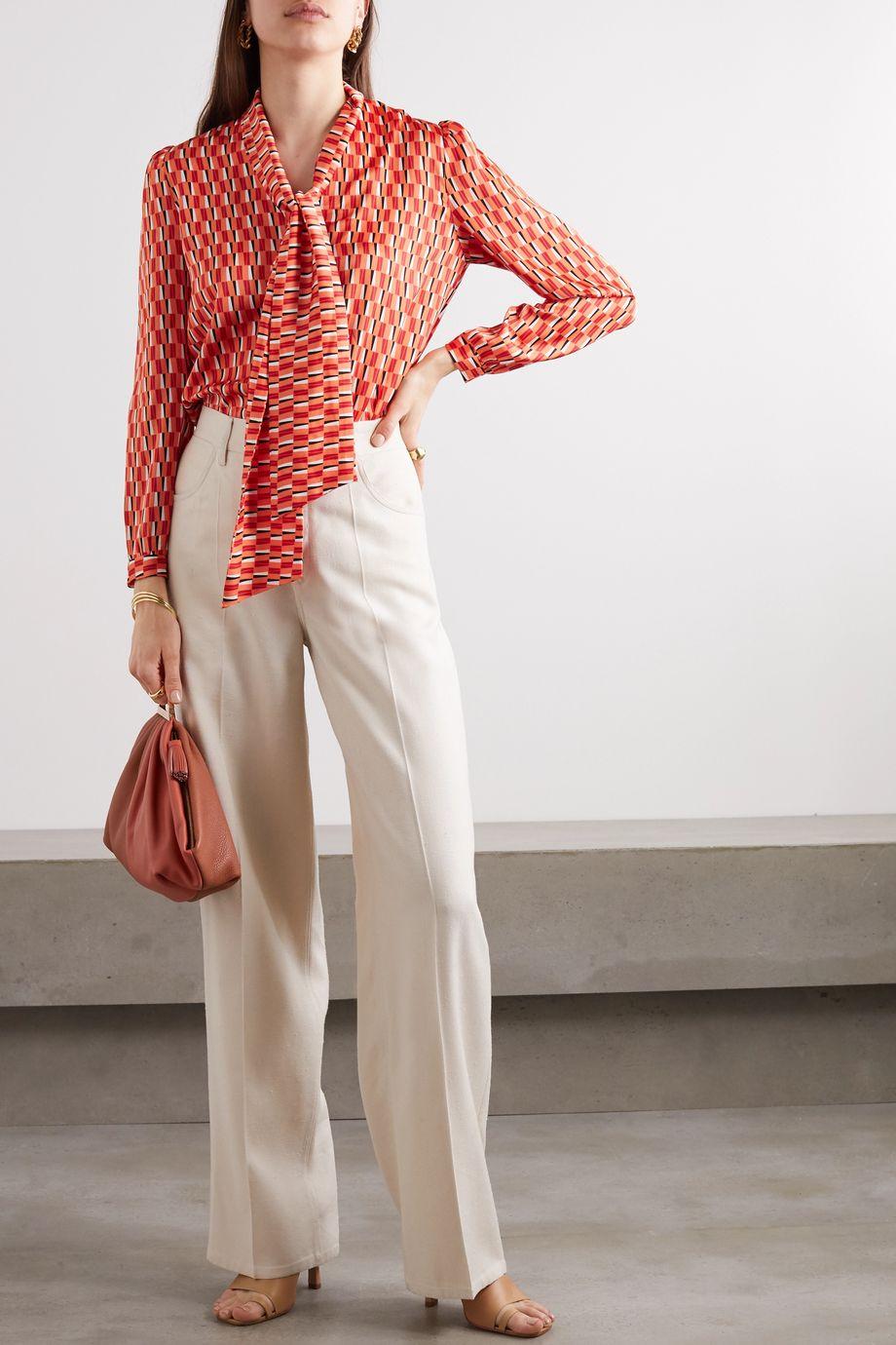 Cefinn Simone pussy-bow printed satin blouse