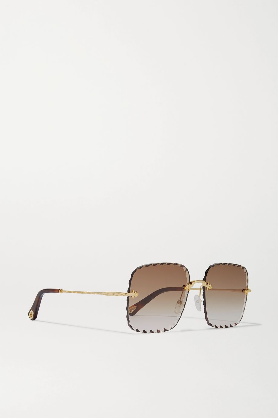 Chloé Rosie square-frame  gold-tone and tortoiseshell acetate sunglasses