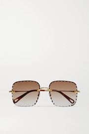 Chloé Rosie square-frame  gold-tone and tortoiseshell acetate sunglasses