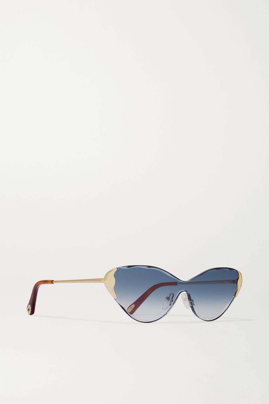 Chloé Cat-eye gold-tone and tortoiseshell acetate sunglasses