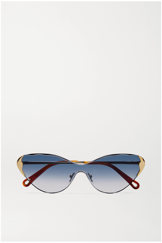 Chloé Goldfarbene Cat-Eye-Sonnenbrille mit Details aus Azetat in Hornoptik