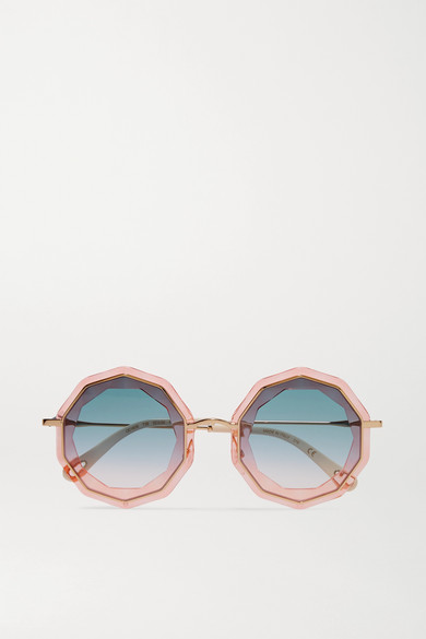 Round Frame Gold Tone And Acetate Sunglasses by Chloé