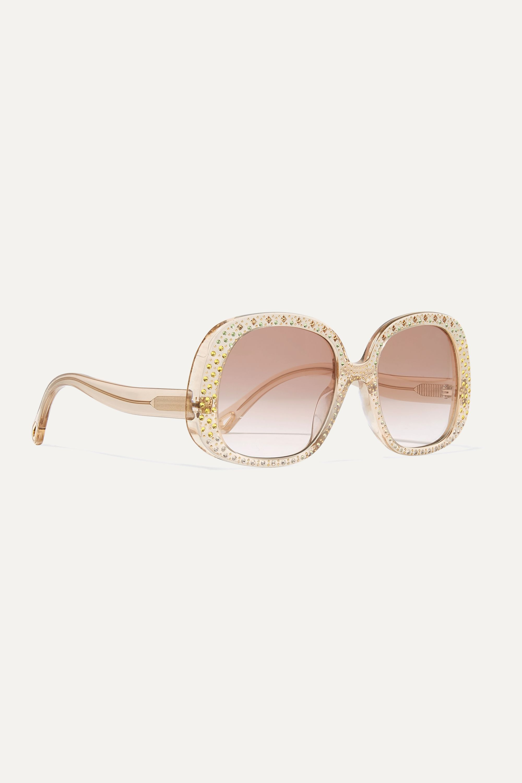 Chloé Oversized crystal-embellished square-frame acetate sunglasses