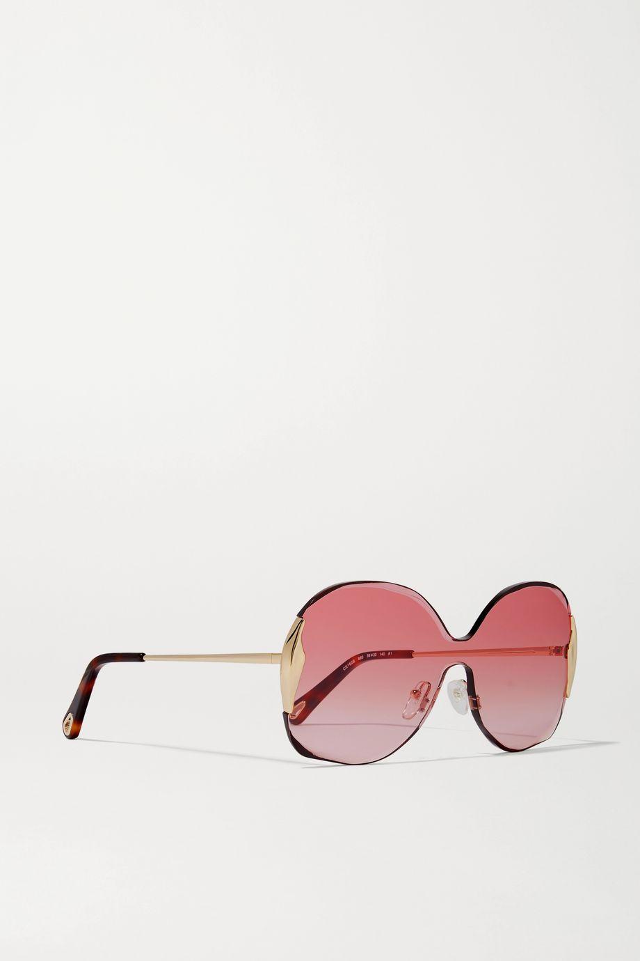 Chloé Goldfarbene Sonnenbrille mit eckigem Rahmen und Details aus Azetat in Hornoptik