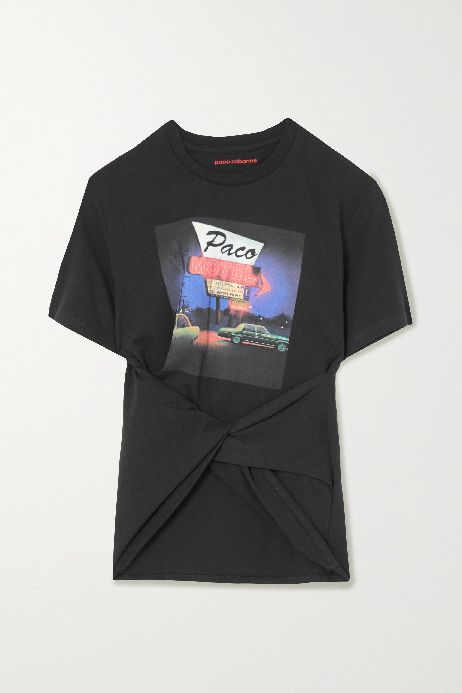 Paco Rabanne T-shirt torsadé en jersey de coton imprimé