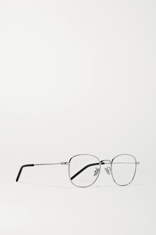 SAINT LAURENT Round-frame silver-tone optical glasses