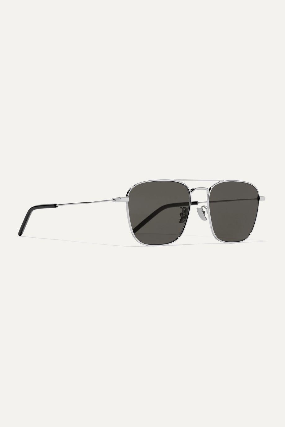 SAINT LAURENT Silberfarbene Pilotensonnenbrille