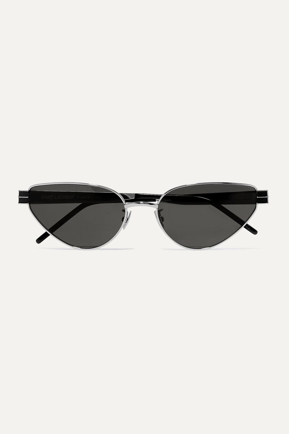 SAINT LAURENT Vintage Monogram cat-eye silver-tone and acetate sunglasses