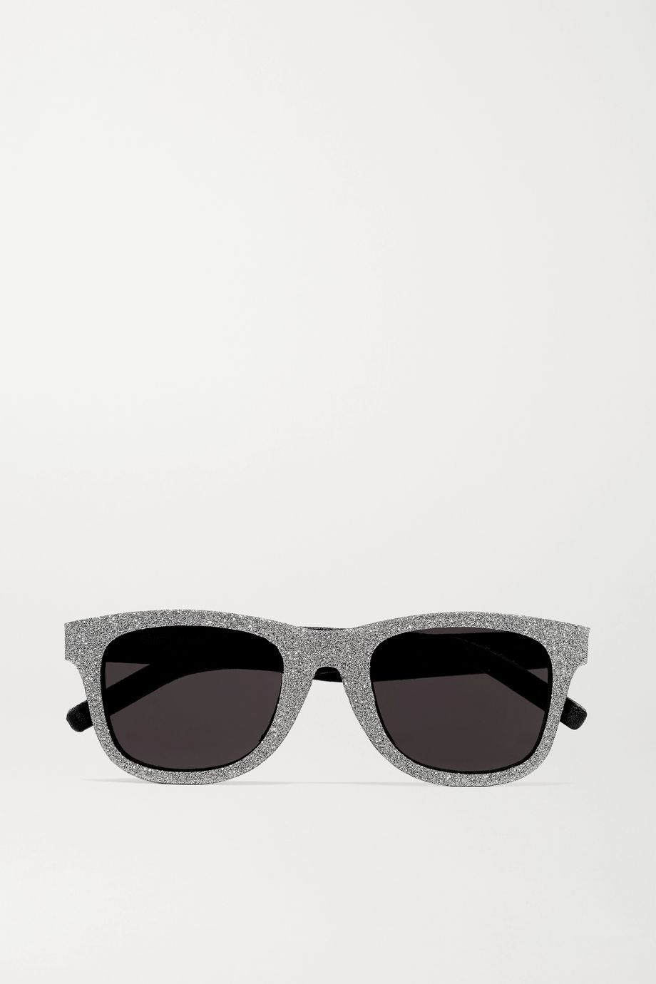 SAINT LAURENT Square-frame glittered acetate and leather sunglasses