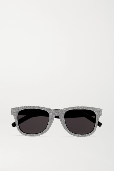Saint Laurent Sunglasses Square-frame glittered acetate and leather sunglasses