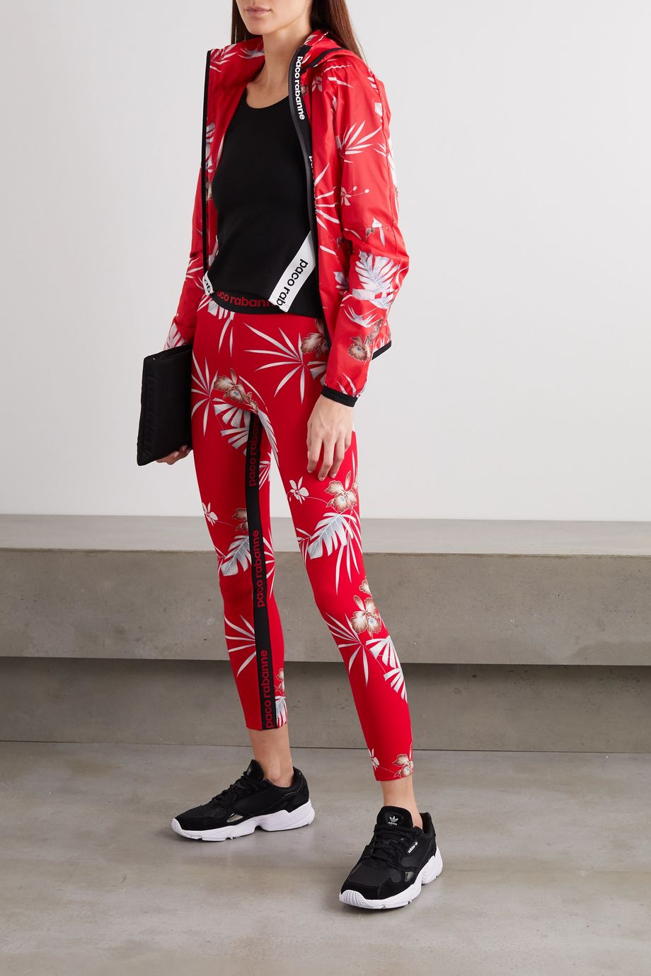 Paco Rabanne Floral-print stretch-jersey leggings