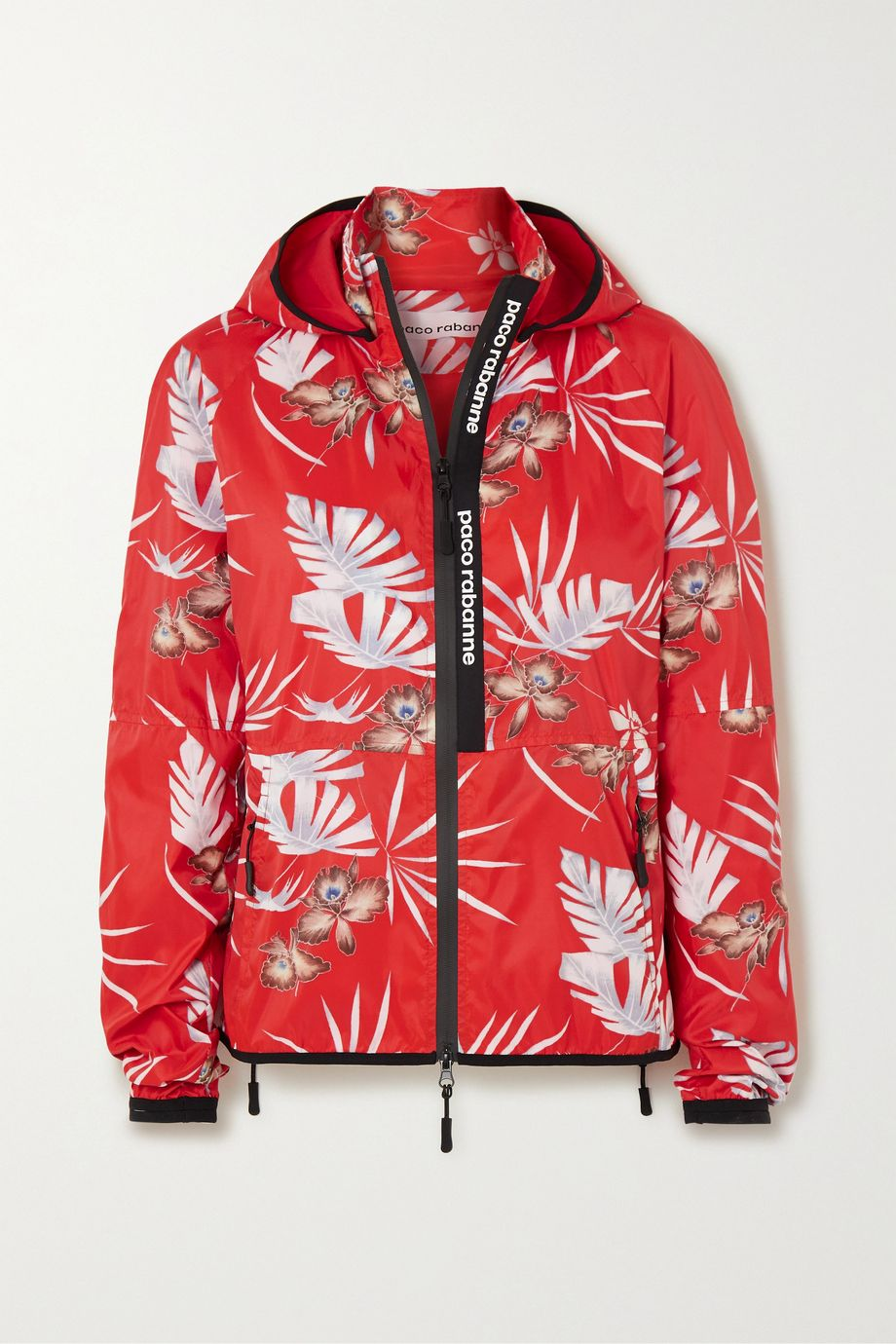 Paco Rabanne Hooded floral-print shell track jacket