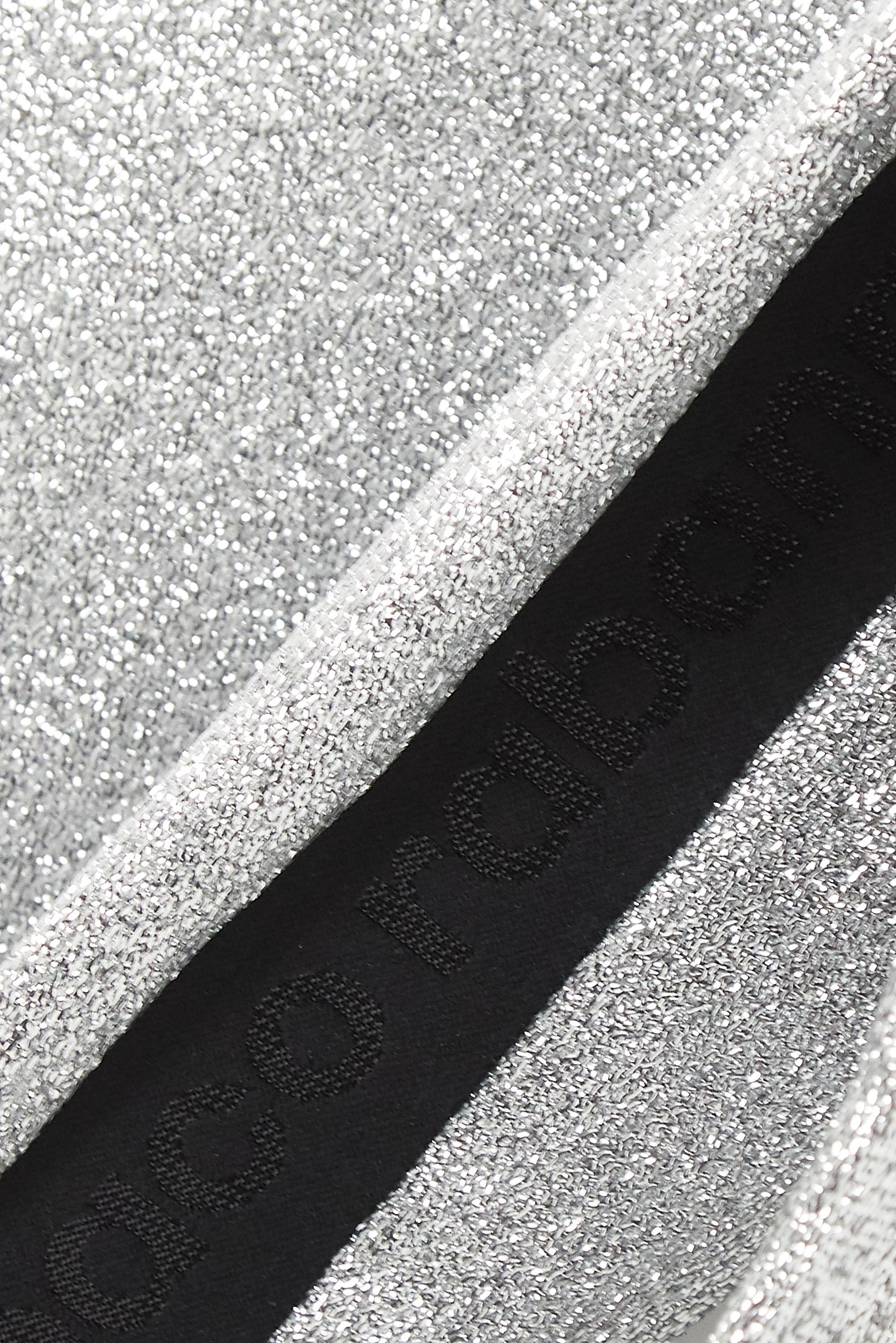 Paco Rabanne Zweifarbige Stretch-Leggings in Metallic-Optik
