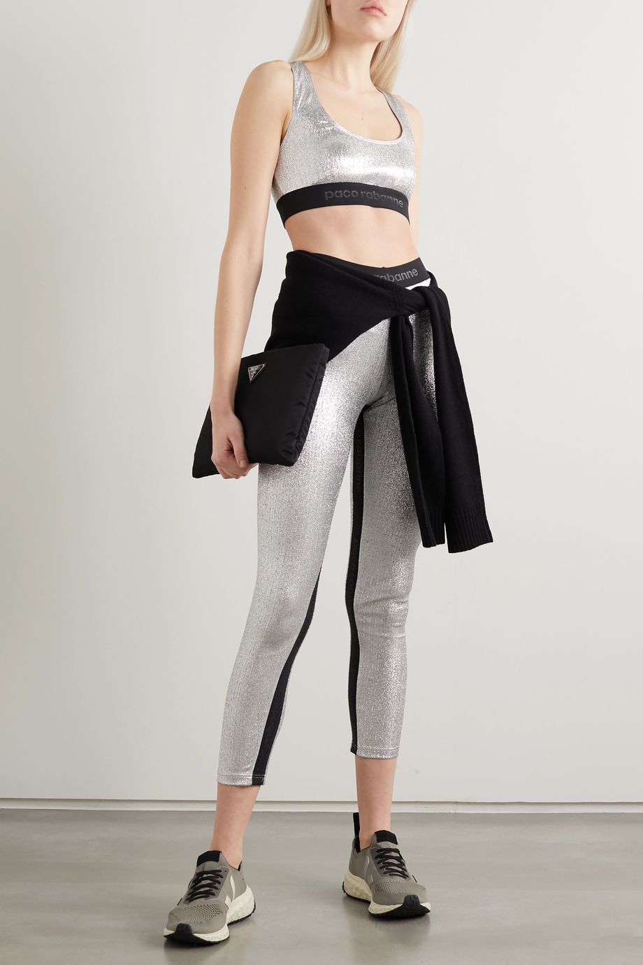 Paco Rabanne Two-tone metallic stretch leggings